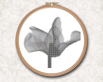 Whimsical Modern Black and White Poppy Flower Counted Cross Stitch Pattern