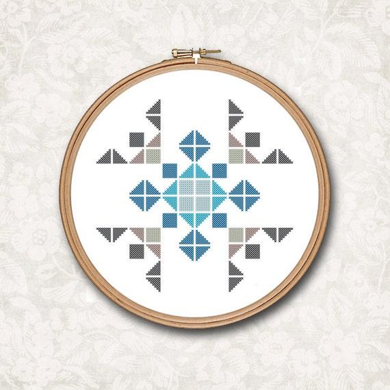 Cuadrados y triángulos de Boho del copo de nieve geométricas | Etsy