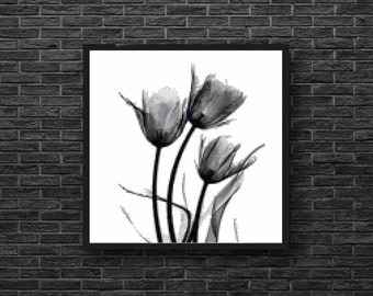 Whimsical Modern Tulip Flower in Black and White Counted Cross Stitch Pattern