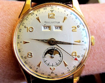 10f3b415ac8 Superb 1950s Swiss GP Helvetia Venus 203 Triple Date Moonphase Watch  Serviced for Sale