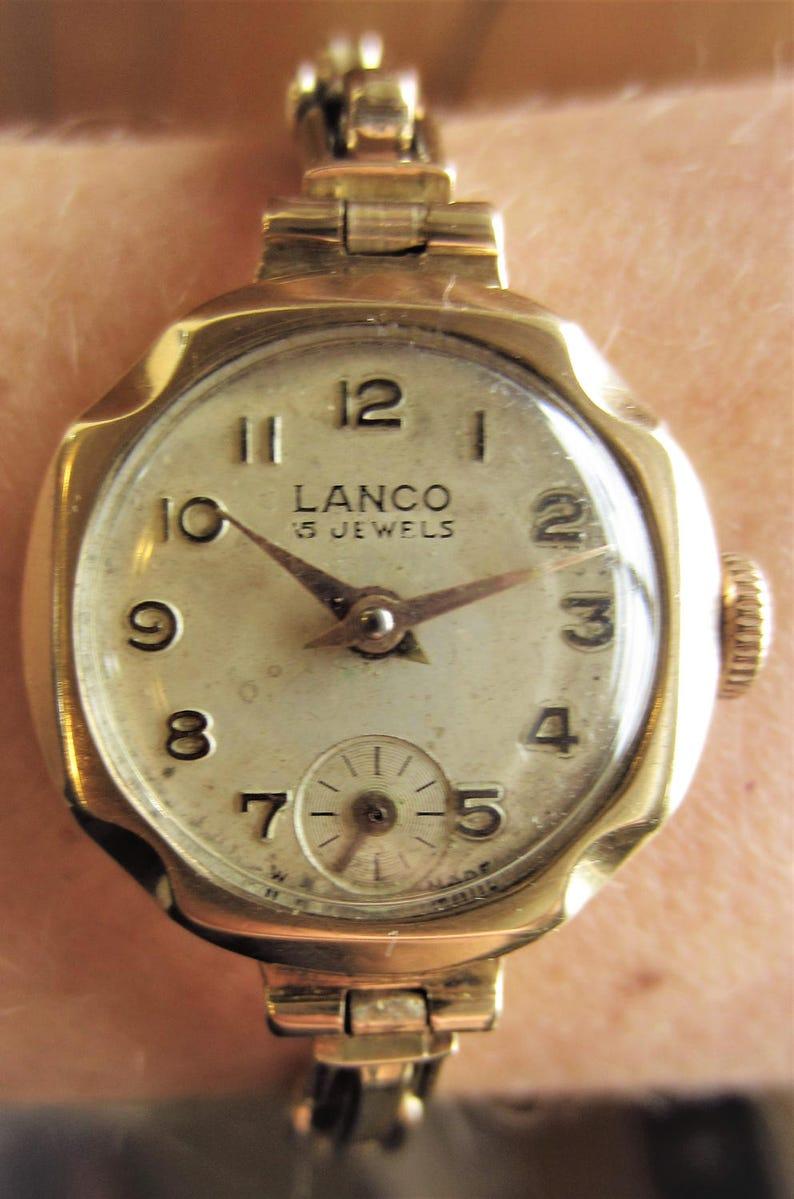 Ladies 1959 9ct Gold Lanco Mechanical Core Bracelet Watch