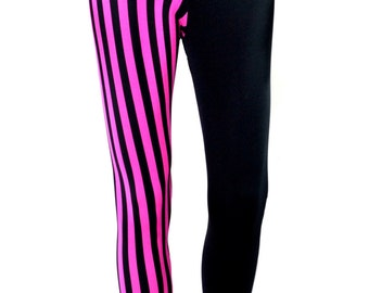 Pink Stripe Fitness Full Length Leggings - Bodybuilding Outfit Workout Clothes Lycra Stretch Gym Tights Pants