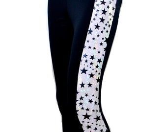 Silver Zebra Fitness Gym Capri Leggings - Bodybuilding Outfit Workout Clothes Lycra Stretch Tights Pants