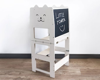 Standing tower for toddler / WHITE + PLAIN / Little tower/ kitchen tower / kitchen helper / step stool / learning stool / kids table /