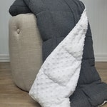 Adult Weighted Blanket Throw (40in x 65in) - 15-25 Pounds - Classic Gray Herringbone & Luxurious Matching Minky- glass fill