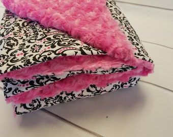 Childs Weighted Blanket (35in x 50in) - Black and pink demask Cotton Rose Minky- Choose the Weight - Child Weighted Blanket - Ready To Fill