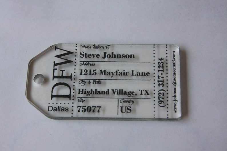 Tags.Acrylic For gifts luggage,etc.x5