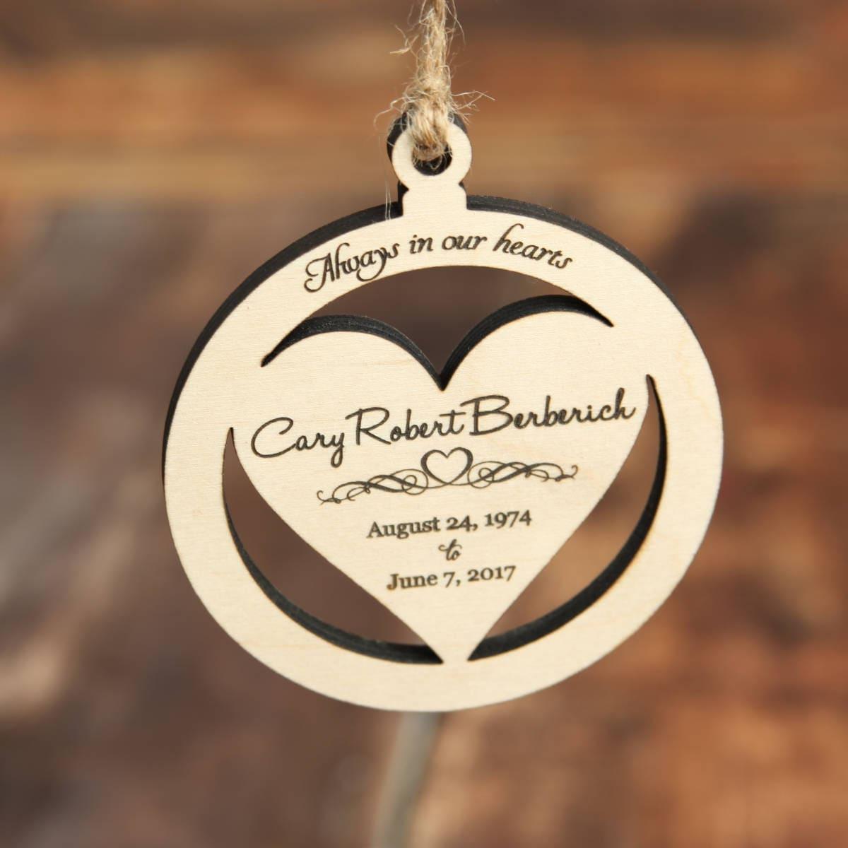 Wood Memorial Ornament, Memorial Christmas Ornament, Personalized ...