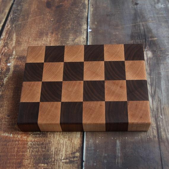 Checkered Wood End Grain Cutting Board Walnut Maple Etsy