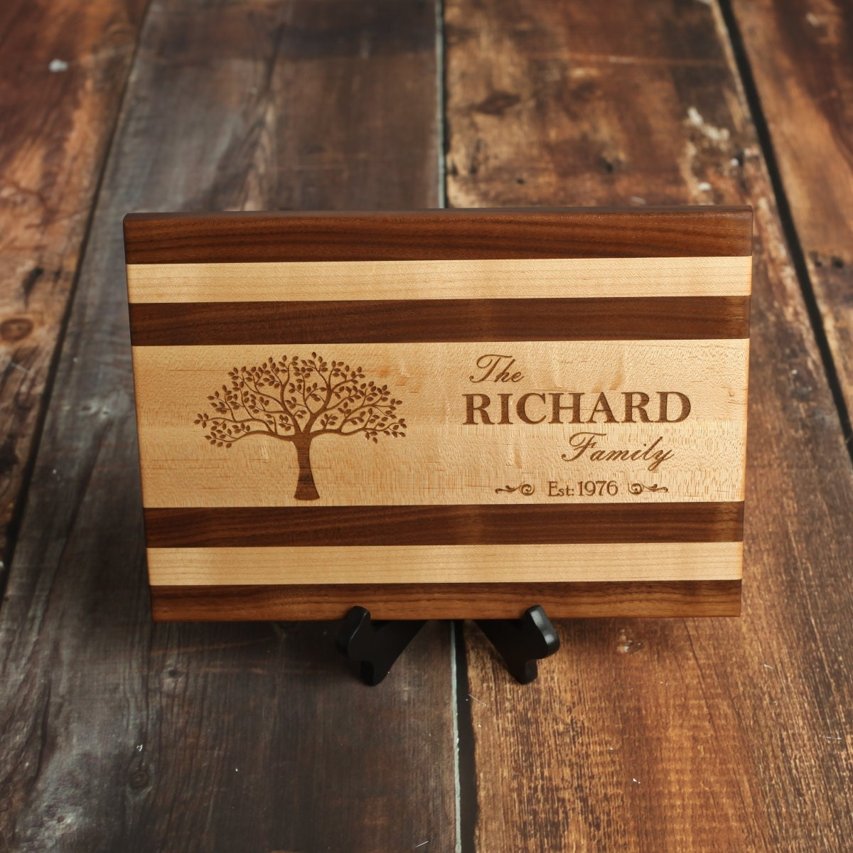 Family Tree Personalized Cutting Board With Strips Of Maple And Black Walnut Wood Custom Serving Tray Or Table Plaque