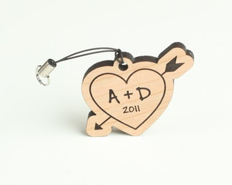 Cherry Wood Keychain Heart with Initials - Personalized Wood Key Chain Key Fob - Custom Engraved Key Ring
