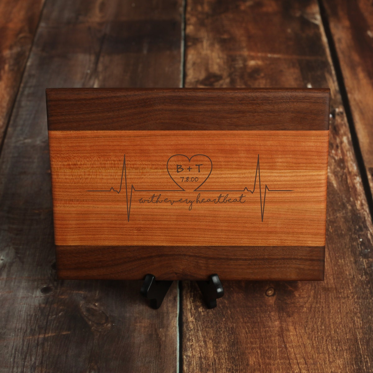 Custom Cutting Board Personalized Cutting Board Wedding Gift Personalized Wedding Gift Heartbeat And Initials With Cherry