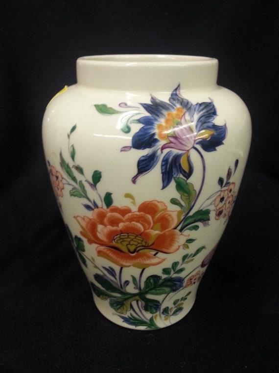 Vintage Mccoy Pottery Ginger Jar Vase White Ivory Floral 710 Etsy