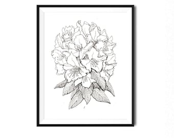 Flower drawing etsy rhododendron print flower art botanical illustration wall art blossom floral art flower drawing botanical print wild rose flora print mightylinksfo