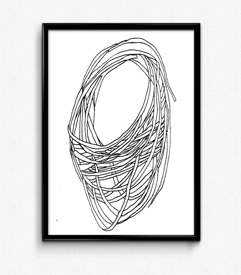 Black and White Print, Circle Art, Ink Drawing, Modern Art, Wall Art Print,  Line Drawing, Abstract Line Home Decor, Fine Art Print