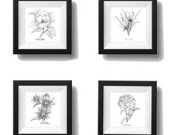 Flower Print Set, Mix and Match, Botanical Print Set, Any 4 Botanical Prints, Wall Decor, Floral Print, Botanical Wall Art, Black and White,