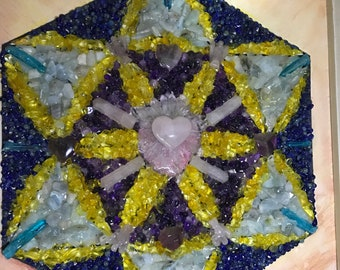 LOVE Grid - picture in real healing gemstones - wooden frame