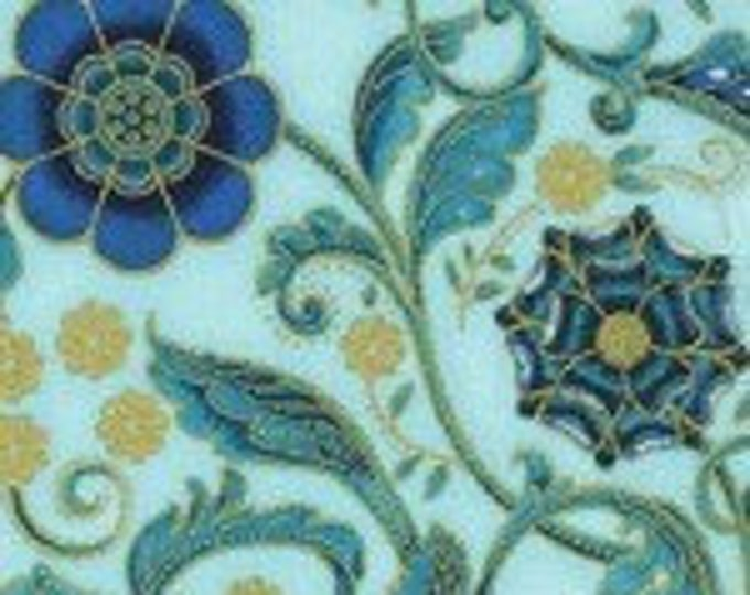 Robert Kaufman - Persis - Blue/Teal  -  SRKM-20141-4  - Gold Metallic - Sold by Yad