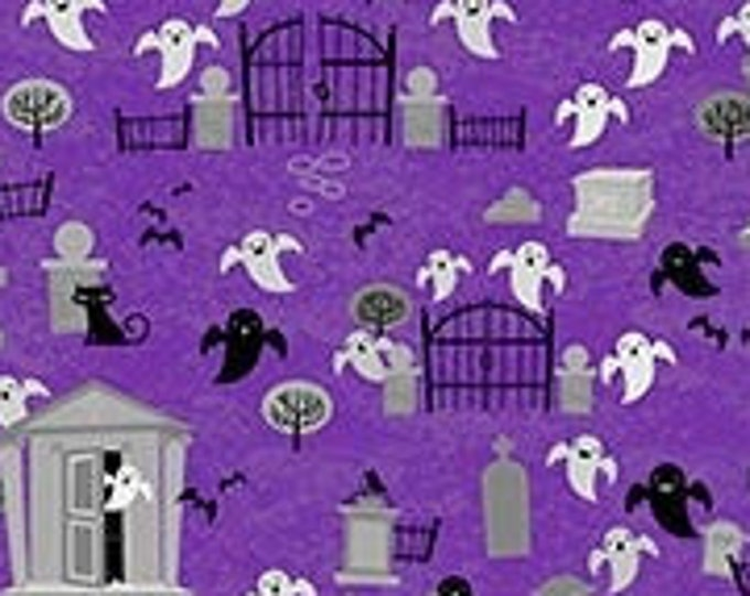 Patrick Lose -  Ghoultide  Greetings - Ghosts - Purple - 10019-84 - Sold by the Yard