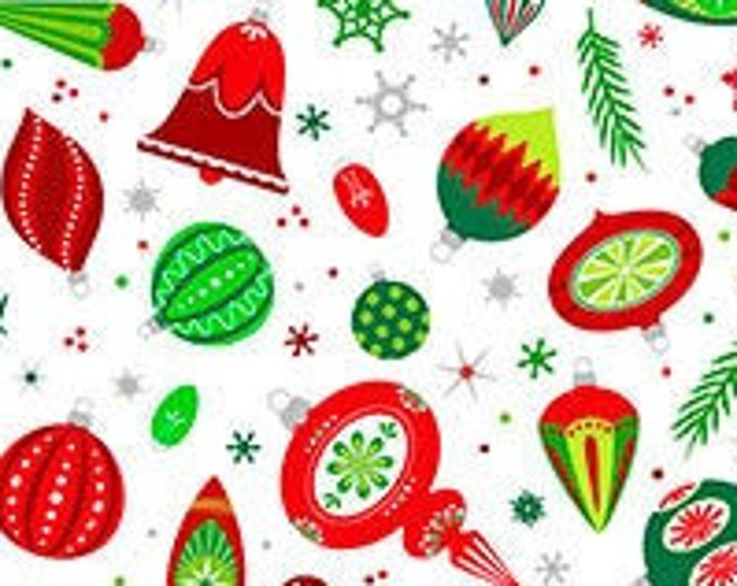 Patrick Lose -  Christmas Magic - Ornaments - Christmas - Retro Christmas - White - Silver Metallic  - 10025M-10 - Sold by the Yard