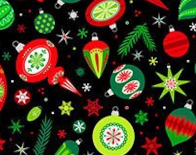 Patrick Lose -  Christmas Magic - Ornaments - Christmas - Retro Christmas - Black  - Silver Metallic  - 10025M-99 - Sold by the Yard