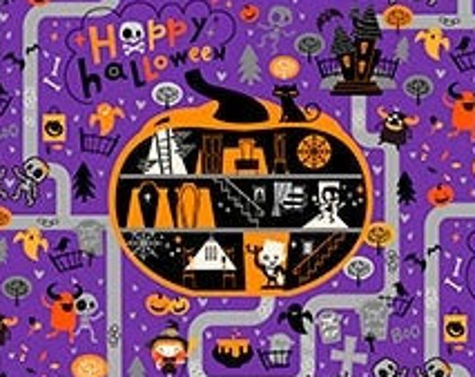 Patrick Lose -  Ghoultide  Greetings - Halloween Town - Purple - 10018-84 - Sold by the Yard