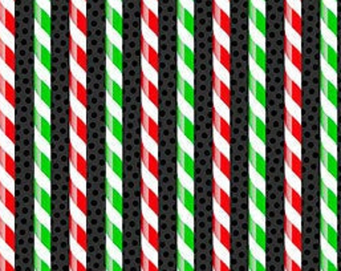 Patrick Lose -  Christmas Magic - Stripe - Candy Stripe - Christmas - Retro Christmas - Black  - 10033-99 - Sold by the Yard