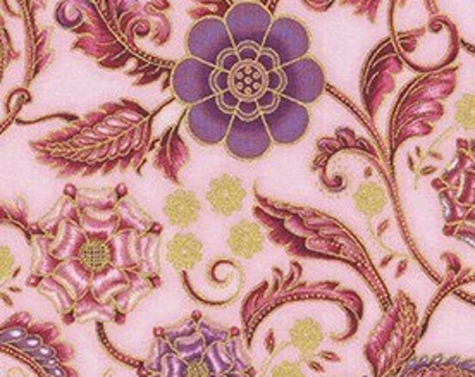 Robert Kaufman - Persis - Blossom/Pink -  SRKM-20141-106  - Gold Metallic - Sold by Yad