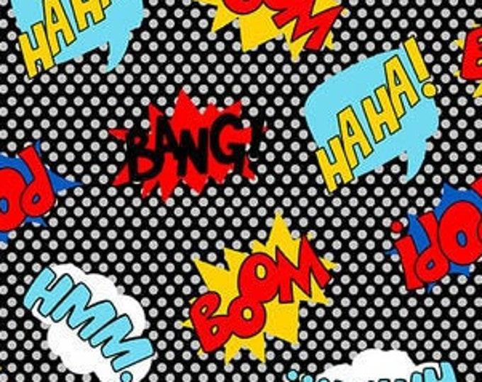 "Blank Quilting - Heros Wear Masks - Superhero Words  -  1613-99 - 36""x44"" - Black/Multi - Sold by the Yard"