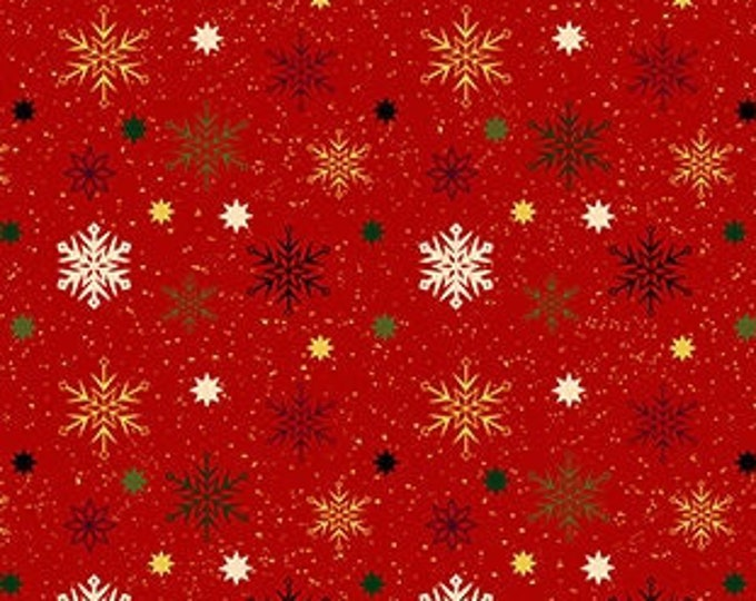Kanvas for Benartex - Charm Holiday - Snowflake  - Red -  Gold Metallic  - 9604M10 - Sold by the Yard