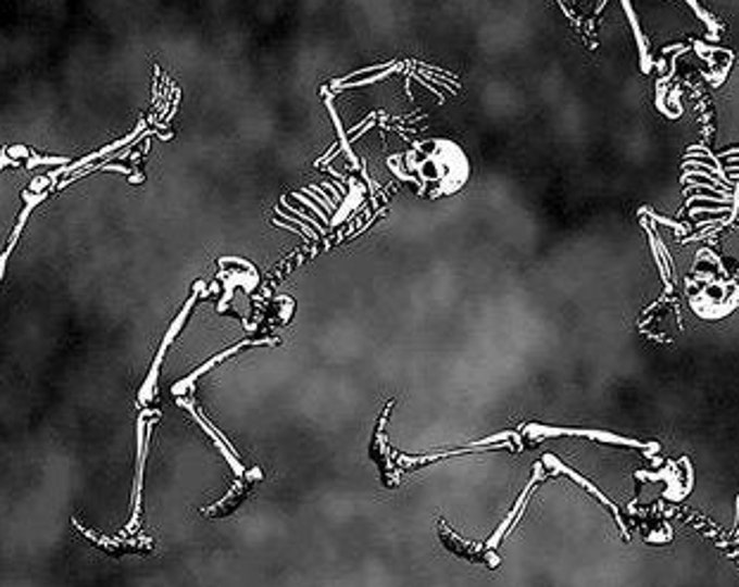 "Blank Quilting - Hocus Pocus - Glow in the Dark - Dancing Skeleton -  1575G-95 - 36""x44"" - Black - Halloween - Sold by the Yard"