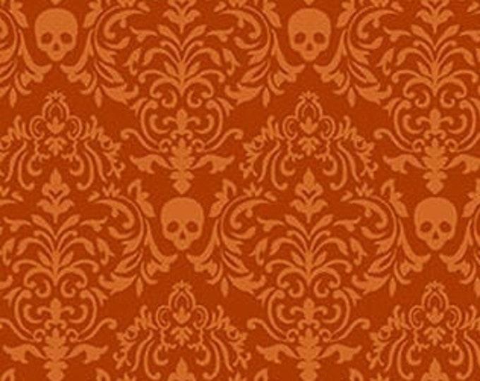 Studio E - Spooky Night - Small Damask Skulls - 5720-33  - Orange - Halloween  - Sold by the Yard