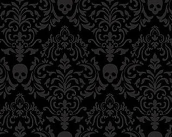 Studio E - Spooky Night - Small Damask Skulls - 5720-99  - Black - Halloween  - Sold by the Yard