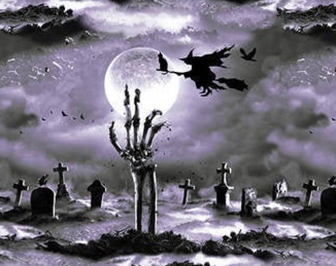 """Blank Quilting - Hocus Pocus - Glow in the Dark - Cemetery Scene  -  1574G-95 - 36""""x44"""" - Gray - Halloween - Sold by the Yard"""