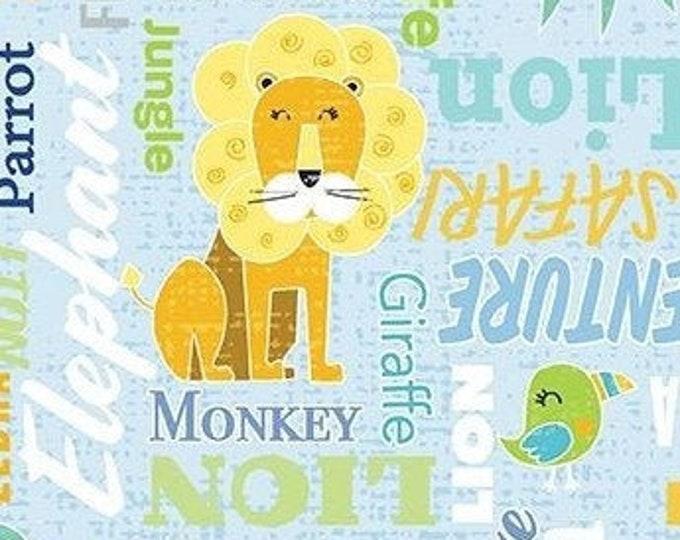 Kanvas for Benartex - Sweet Safari - Words - Safari -  Sky Blue - 9895-05 -  Animal fabric - Baby Fabric - Sold by the Yard