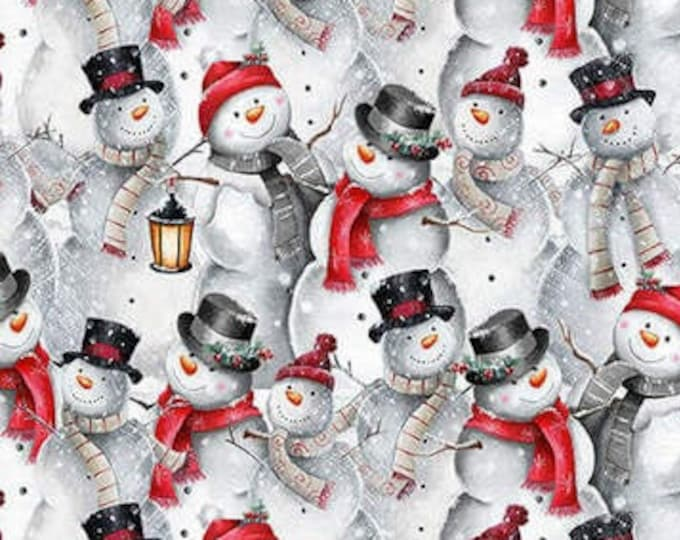 """Blank Quilting - Joyful Tiding -  Snowman Collage  - 1570-90  - 36""""x44"""" - Lt. Gray - Sold by the Yard"""