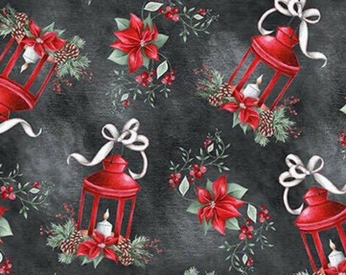 """Blank Quilting - Joyful Tiding -  Lanterns with Poinsettia  - 1563-99  - 36""""x44"""" - Black  - Sold by the Yard"""