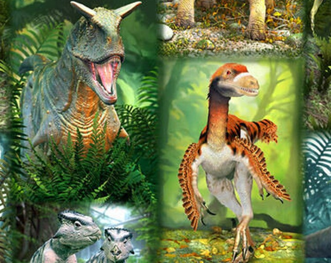 "Blank Quilting - Tyranno-Chorus - Dinosaur Patch  - Dinosaur -  1547-66  - 36x44"" - Green - Sold by the Yard"