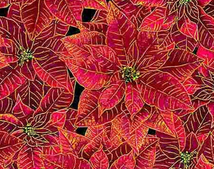 """Timeless Treasures - Holiday Spice - Packed Red Poinsettas -  Christmas  - CM8515 - Gold Metallic - 36""""x43"""" - Sold by the Yard"""