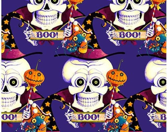 """Blank Quilting - Witchful Thinking  - Skulls -  1535-55 - 36""""x44"""" - Purple - Halloween - Sold by the Yard"""