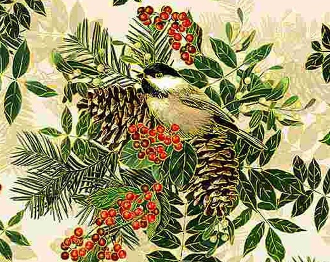 """Timeless Treasures - Holiday Spice - Cream/White background - Chicadee -  Christmas  - CM8514 - Gold Metallic - 36""""x43"""" - Sold by the Yard"""