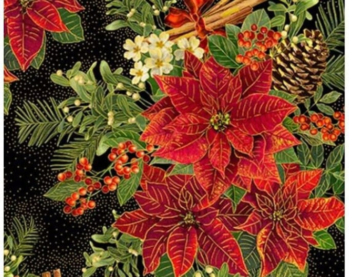 """Timeless Treasures - Holiday Spice -  Red Poinsettas -  Christmas  - CM8512 - Black - Gold Metallic - 36""""x43"""" - Sold by the Yard"""