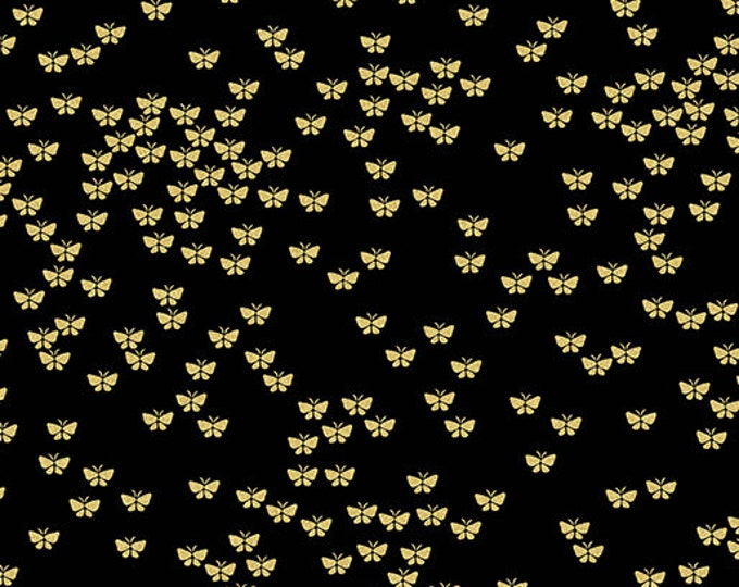 Kanvas for Benartex - Metallic Mixers - Metallic - Butterflies  - Black - Gold Metallic - 7731M99 - Sold by the Yard
