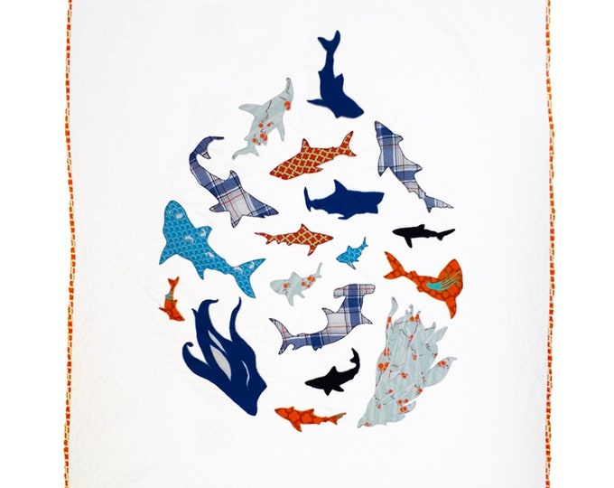 Shoal - Shark Applique - Precut/Prefused - Applique Kit including Pattern