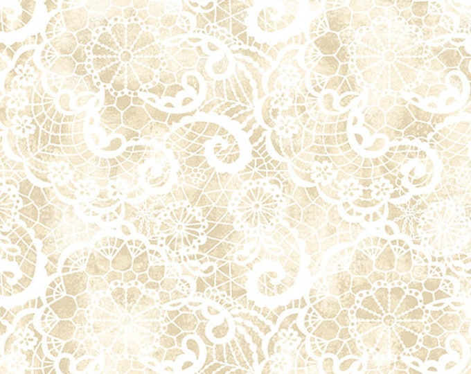 Benartex - Festival of Roses - Festive Lace  - Cream - Pearl -- 6640P07- Sold by the Yard
