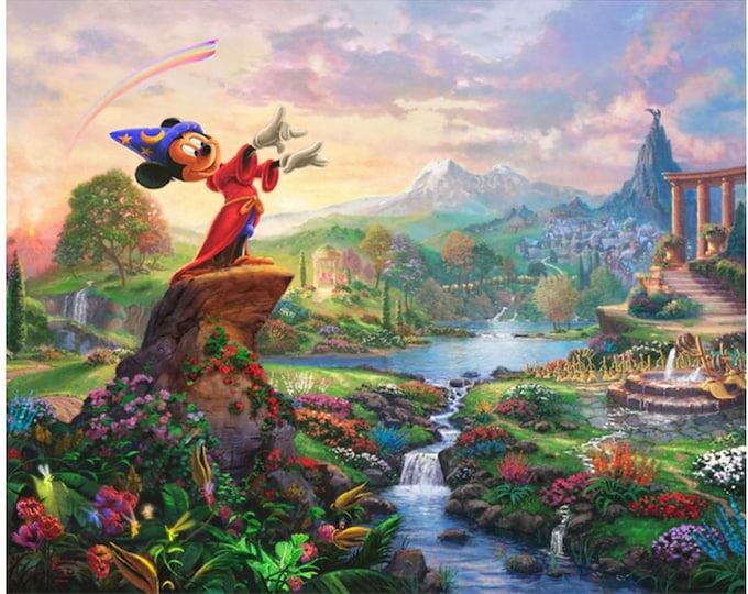 Davids Textile - Disney Magic Panel - Fantasia-  By Thomas Kinkade  - PANEL -  Mickey Panel - Panel  - Sold by the Panel -