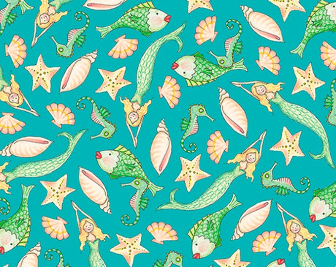 Quilting Treasures - Mermaid Merriment - Sea fabric  -  Sold by the Yard- 26522Q