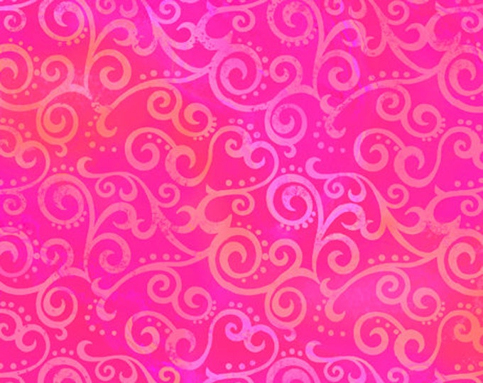 """Quilting Treasures - Ombre Scroll - Wide Back - Hot Pink - Pink  - 108"""" Wide - 24775PV - Sold by the Yard - 36"""" x 108"""""""