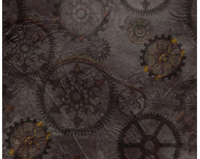 Quilting Treasures - Steampunk Halloween - Steampunkery -  Gears - Smoke - Steam Punk  - 27772K - Sold by the Yard
