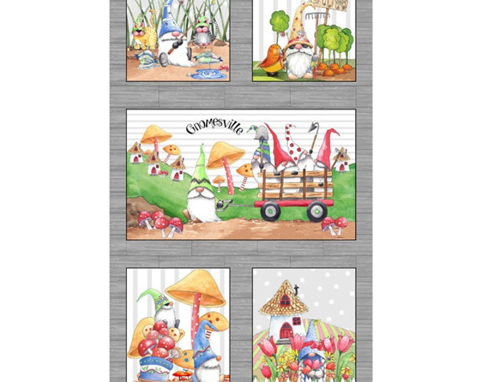 Quilting Treasures - Gnomeville - Panel - Gnome Character Panel - Gnome - Stripe - Gnomes - Gnome Fabric - 27661 K - Gray- Sold by the Panel